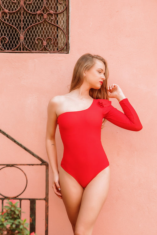 Red One Shoulder Onepiece