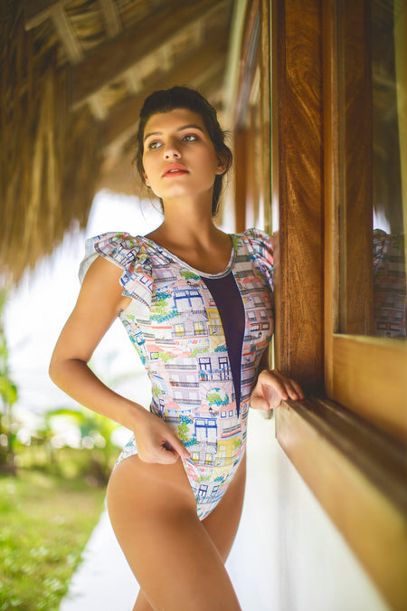Peacock criss cross monokini