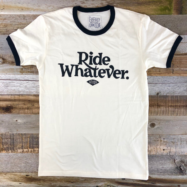 Ride Whatever Ringer Tee White
