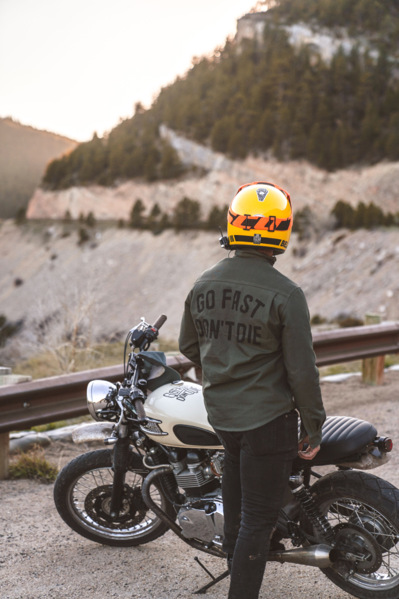 GFDD X Tobacco Motorwear California Riding Shirt - Moss Canvas