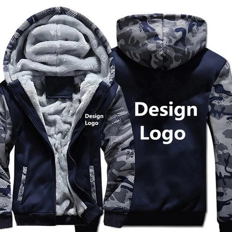 BLUE CAMO FLEECE JACKET (CUSTOMIZE)