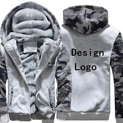 WHITE CAMO FLEECE JACKET (CUSTOMIZE)
