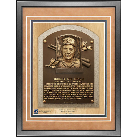 Johnny Bench Baseball Hall of Fame Plaque