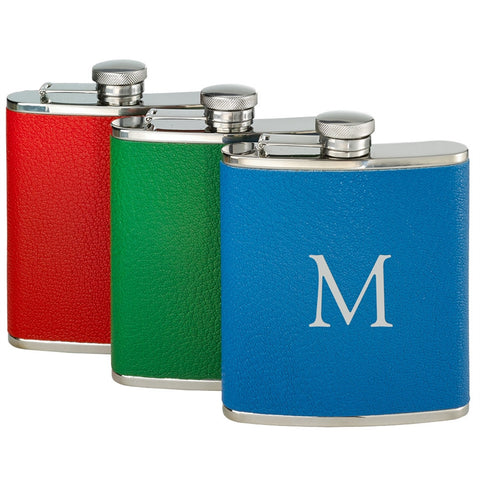You-Initial-It Leather-Wrapped Flask 6 oz