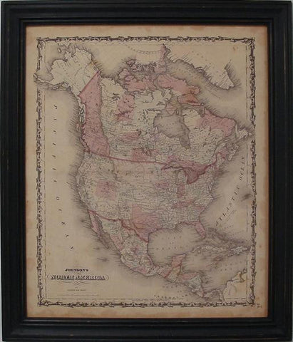 Vintage Map of North America by Johnson