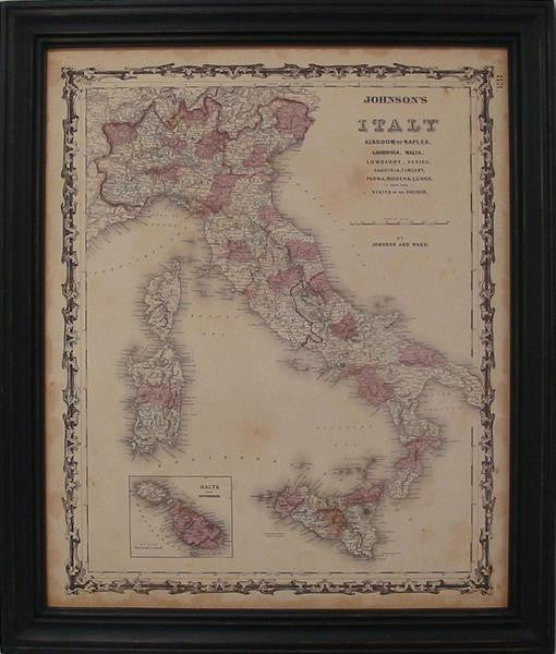 Vintage Map of Italy by Johnson