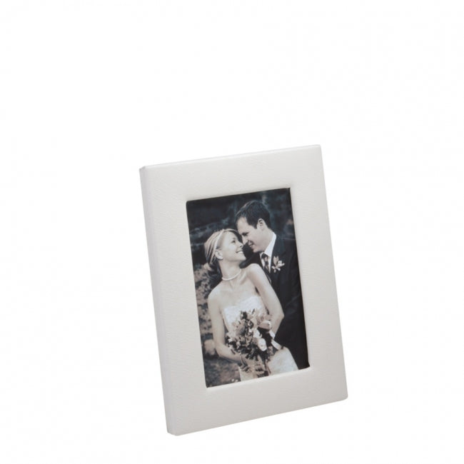 "picture frame 5"" x 7"" full grain leather white"