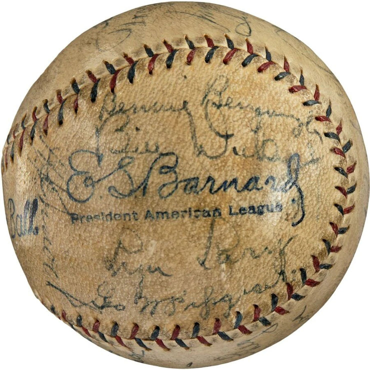Babe Ruth & Lou Gehrig 1930 New York Yankees Team Signed Baseball - The National Memo