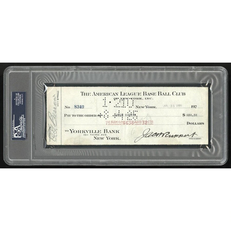 Lou Gehrig 1925 Rookie NY Yankees Signed Payroll Check - The National Memo