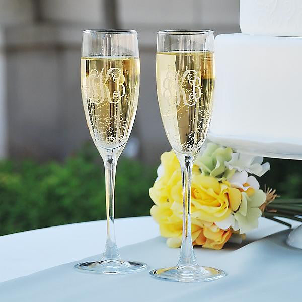 Personalized Glass Champagne Flutes, Set of 4, 8 oz. each - The National Memo