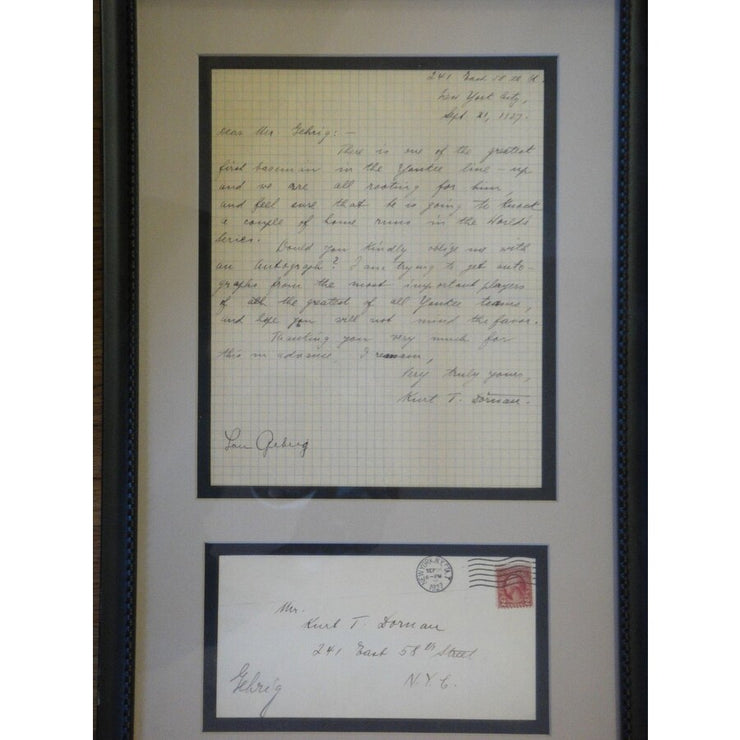 Lou Gehrig Letter Signed Sept. 1927 - The National Memo