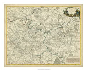 Antique Map Environs de Paris Art Print