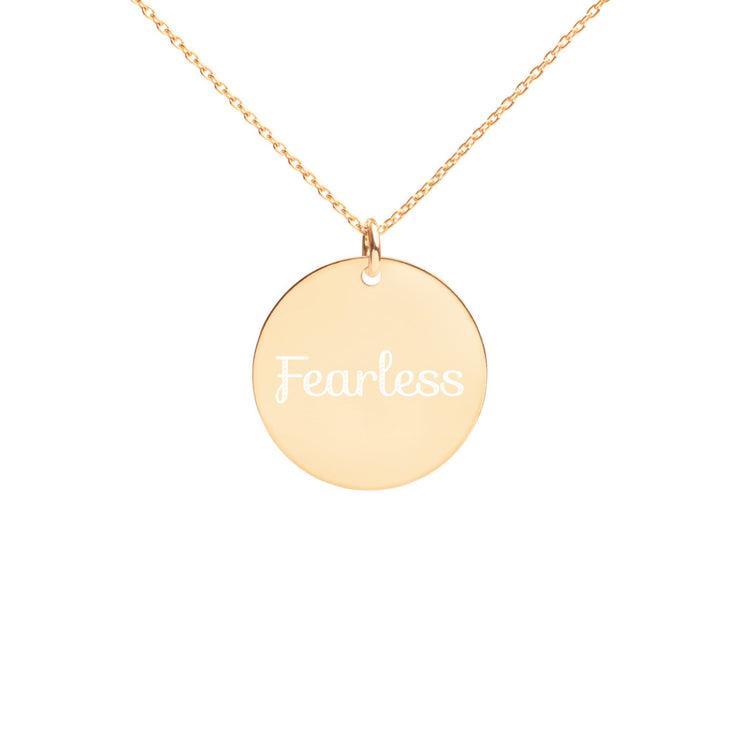 Fearless Engraved Silver Disc Necklace