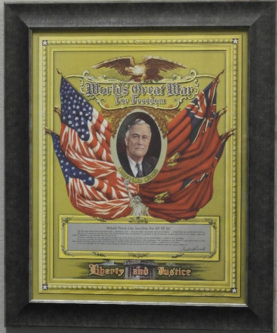 Framed FDR World War II Poster