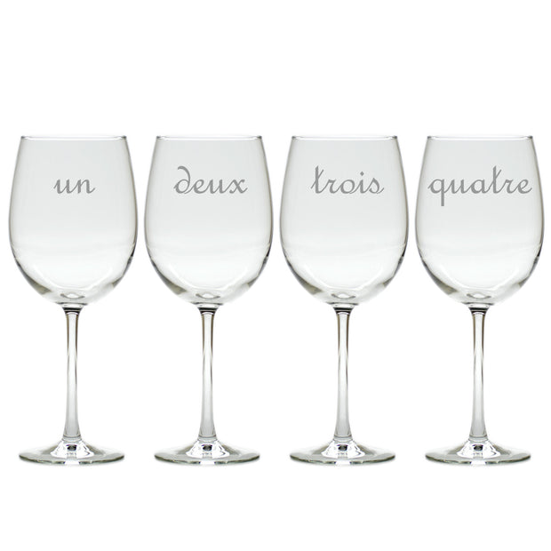 Wine Glass Gift Set with French Numbers, 4 pieces - The National Memo