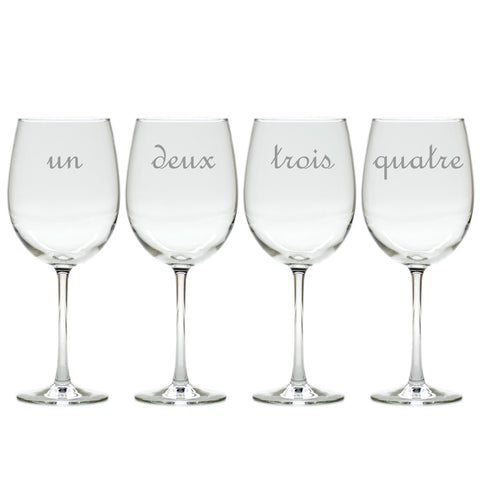 Wine Glass Gift Set with French Numbers, 4 pieces