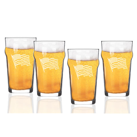 American Flag Pub Glasses, Set of 4, 16 oz