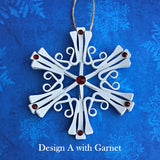 White  Classic Snowflake with Crystals