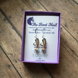 Sterling Race Horse Nail Earrings