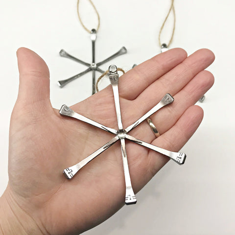 Simple Horseshoe Nail Snowflake Ornament