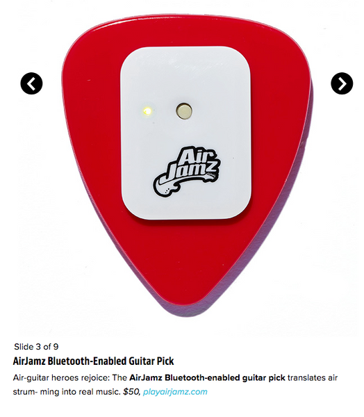 Entertainment Weekly, AirJamz Bluetooth-Enabled Guitar Pick, Holiday Gifts for the Music lover