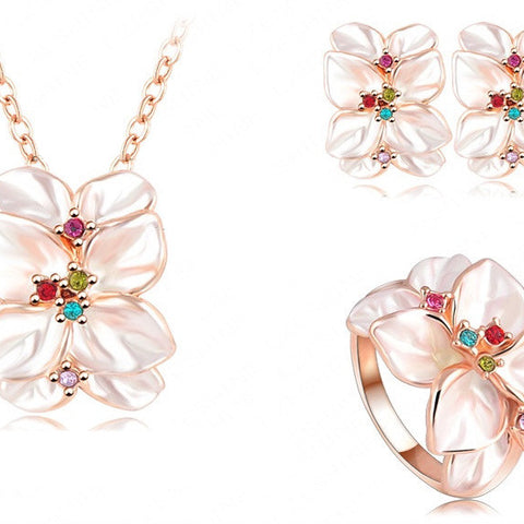 Flower Earrings/Necklace/Ring Set