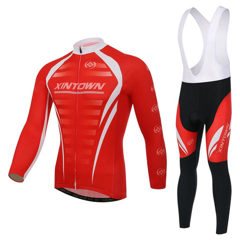 Red Warm Long Sleeve Cycling Jersey Set - enjoy-outdoor-sport