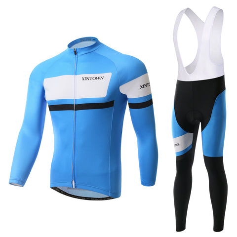 Blue Quick-Dry Long Sleeve Cycling Jersey Set - enjoy-outdoor-sport