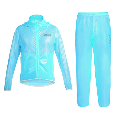 WOSAWE Waterproof Windproof Blue Cycling Rain Coats Jackets Set - enjoy-outdoor-sport