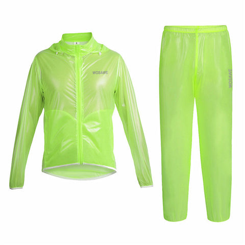 WOSAWE Waterproof Windproof Green Cycling Rain Coats Jackets Set - enjoy-outdoor-sport