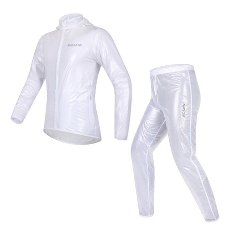 WOSAWE Waterproof Windproof White Cycling Rain Coats Jackets Set - enjoy-outdoor-sport