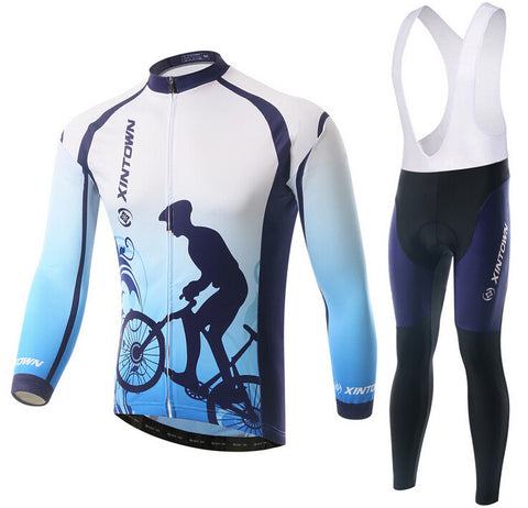 Blue Cyclist Long Sleeve Cycling Jersey Set - enjoy-outdoor-sport