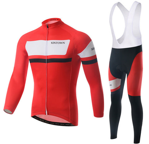 Italy Red and White  Long Sleeve Cycling Jersey Set - enjoy-outdoor-sport