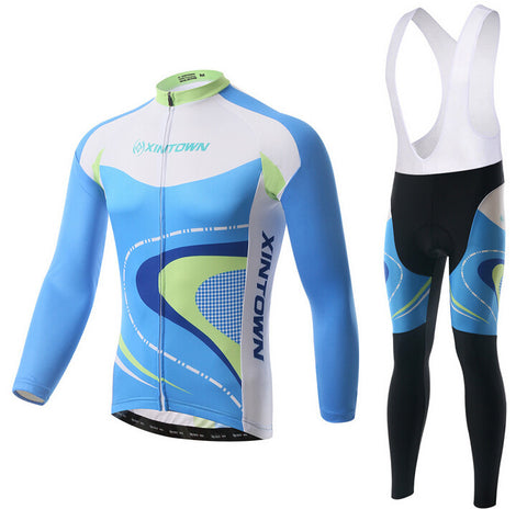 Blue Green Crooked Road Long Sleeve Cycling Jersey Set - enjoy-outdoor-sport