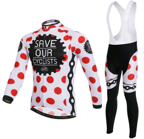 Red white Gear Long Sleeve Cycling Jersey Set - enjoy-outdoor-sport