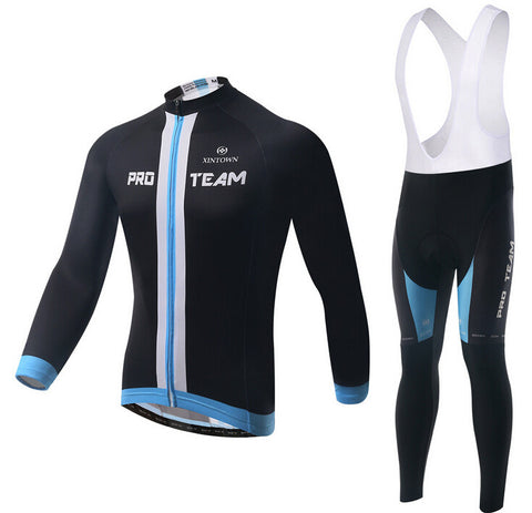 Black PRO TEAM Long Sleeve Cycling Jersey Set - enjoy-outdoor-sport