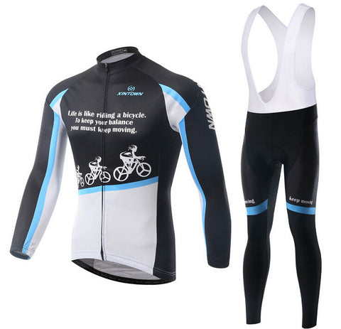 Cool Black white Long Sleeve Cycling Jersey Set - enjoy-outdoor-sport
