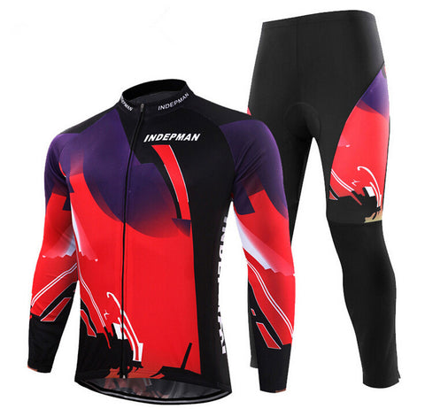 Black Red Long Sleeve Cycling Jersey Set - enjoy-outdoor-sport