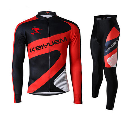 Red Black Long Sleeve Cycling Jersey Set - enjoy-outdoor-sport