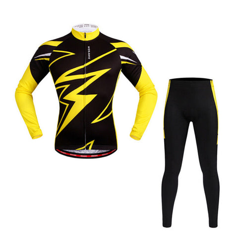 WOSAWE Black Yellow Long Sleeve Cycling Jersey Set - enjoy-outdoor-sport
