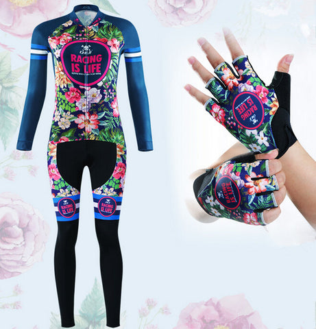 Tropical Flowers Long Sleeve Cycling Jersey Set + Gloves - enjoy-outdoor-sport