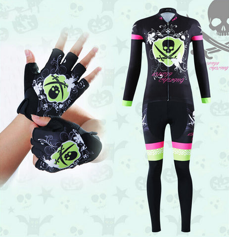 Tropical Skull Green Long Sleeve Cycling Jersey Set + Gloves - enjoy-outdoor-sport