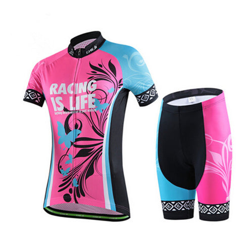 Tropical Butterfly Red Short Sleeve Cycling Jersey Set - enjoy-outdoor-sport