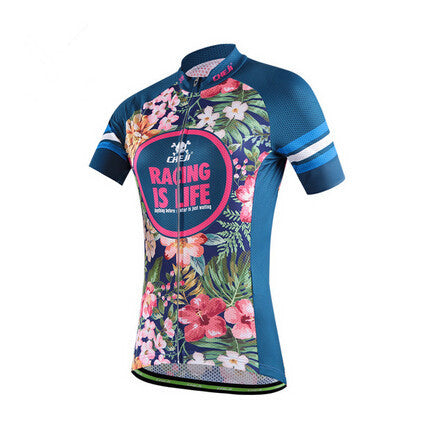 Tropical Flowers Short Sleeve Cycling Jersey - enjoy-outdoor-sport