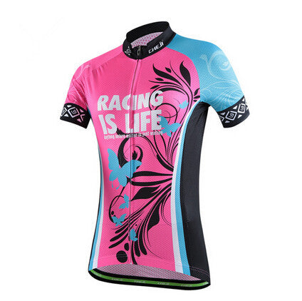 Tropical Butterfly Red Short Sleeve Cycling Jersey - enjoy-outdoor-sport