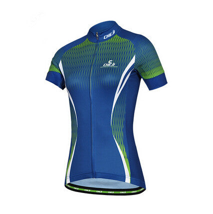 CHEJI Blue Green Short Sleeve Cycling Jersey - enjoy-outdoor-sport
