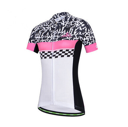 CHEJI White Black Short Sleeve Cycling Jersey - enjoy-outdoor-sport