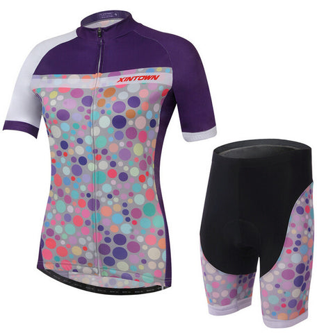 XINTOWN Colorful Dot Short Sleeve Cycling Jersey Set - enjoy-outdoor-sport