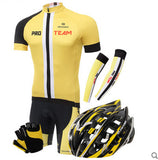 PRO TEAM Yellow Black Short Sleeve Cycling Full Set - enjoy-outdoor-sport