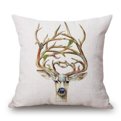 Creative Print Deer Pillow Case